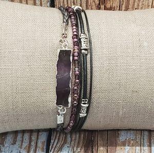 Handmade Leather and Amethyst Bracelet